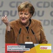 Angela Merkel am Donnerstag in Hamburg. Bild: David Hecker / EPA