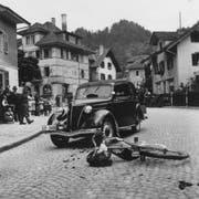 Die Entlebucherstrasse Richtung Dorfzentrum. (Bild: Franz Schmidlin/ Wolhuser Forum für Geschichte)