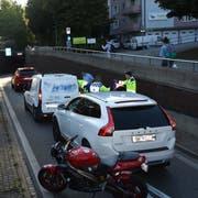 Die Unfallstelle vom späten Montagnachmittag auf der Rampe in den Schorentunnel. (Bild: Kantonspolizei St.Gallen - 17. September 2018)