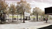 So stellen sich die Architekten den eingeschossigen Neubau im «Letten» vor. Die seit mehreren Jahren nicht mehr genutzte Turnhalle an dieser Stelle wird abgebrochen. (Bild: PD/Moos Giuliani Herrmann Architekten)