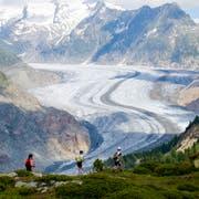 Im 17. Jahrhundert noch eine Bedrohung, heute ein schwindender Segen: Der Aletschgletscher hat in den vergangenen Jahrzehnten klimabedingt viel von seiner imposanten Grösse eingebüsst. (Anthony Anex/Keystone, Bettmeralp, 7. Juli 2018)
