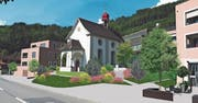 So soll sich der Dorfplatz in Wilen mit der Kapelle dereinst präsentieren. (Visualisierung: PD)