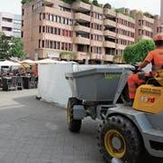 Der Baulärm am Rorschacher Marktplatz verursacht bei den Restaurants Umsatzeinbussen. (Bild: Martin Rechsteiner, Video: Rebecca Frei)