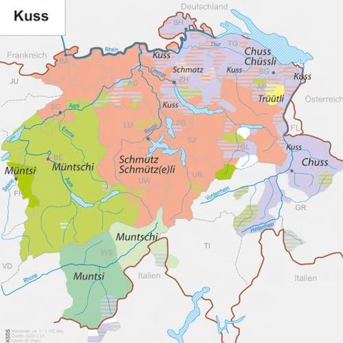 In Luzern gibt es ein Schmützli, in Teilen Zürichs einen Schmatz. HO: Kleiner Sprachatlas der deutschen Schweiz