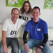 Die neuen Besitzer des Gewerbezentrums Stephan und Nicole Amacker sowie Marco Lüthi. (Bild: Werner Ulrich)