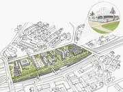 So stellt sich Wirtschaft Region St.Gallen die Zukunft der Gleisanlagen des Bahnhofs St.Fiden zwischen Splügen- und Spinnereibrücke vor - überdeckt und unter anderem mit einem VBSG-Depot überbaut. (Illustration: WISG - 16. Januar 2019)