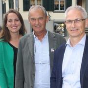 Gemeinsam in den Wahlkampf: Nina Schläfli (SP), Kurt Egger (GP) und Ueli Fisch (GLP). (Bild: Thomas Wunderlin)