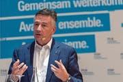 Hans Wicki bei einem Auftritt im Rahmen der FDP-Roadshow. (Bild: Georgios Kefalas/Keystone (Muttenz, 6. November 2018))