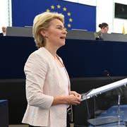 Ursula von der Leyen setzt sich bei ihrer Rede im EU-Parlament fürs Thema Nachhaltigkeit ein. (Bild: Patrick Seeger / EPA, Strassburg, 16. Juli 2019)