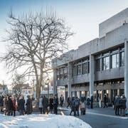 Viel Schnee, viel Kritik: Kein Winter wie jeder andere an der Universität St.Gallen. (Bild: Hanspeter Schiess (St.Gallen, 18. Februar 2019))
