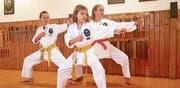 Von links: Julia Birrer, Yela Würsch und Zoé Beck posieren nach der erfolgreichen Prüfung. (Bilder: PD)