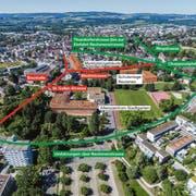 Während der mehrmonatigen Bauphase auf St.Galler- und Marktstrasse (rot) wird ein Grossteil des Verkehrs stadtein- und stadtauswärts über die Reutenen-, Thundorfer- und Ringstrasse (grün) geleitet. (Bild: Olaf Kühne/Grafik: Infografik SGT)