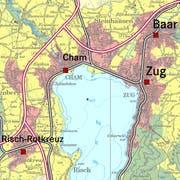 In den Stadtlandschaften (rot eingefärbt) rund um die Zentren Zug, Baar, Cham und Risch-Rotkreuz soll der Hauptteil der Entwicklung stattfinden. (Karte: pd)