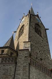 Der Turm der Kirche St. Paul in Luzern. (Bild: Philipp Schmidli, 30. August 2017)