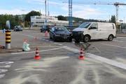 Die Unfallstelle südlich der Spinnereibrücke (im Bild hinten). (Bild: Stadtpolizei St.Gallen - 21. Juni 2019)