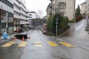Die Unfallstelle an der Einmündung der Haldenstrasse (rechts) in die Wassergasse. (Bild: Stadtpolizei St.Gallen - 22. Dezember 2018)