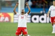 Wie lange können die Schweizer mit ihren Fussballern wie Gelson Fernandes (Bild) an der WM in Russland mitjubeln? (Bild Peter Klaunzer, Keystone)