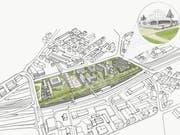 Ein Dach über den Gleisen für Wohnen, Arbeiten – und Busse: So stellt sich die WISG das Bahnhofareal St.Fiden vor. (Illustration: PD/Cédric Bosshard)