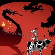 Der chinesische Drache erscheint nicht nur der Schweiz als übermächtiger Gegner, dem es mutig Paroli zu bieten gilt. (Illustration: Silvan Wegmann)