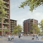 Die Wohnüberbauung auf dem Baufeld Mitte im künftigen «Ziegeleipark »in Horw. (Visualisierung: nightnurse images, Zürich)