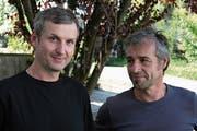 Die Stanser Architekten Klaus Töngi (links) und Hanspeter Odermatt organisieren «Architektur im Gespräch». (Bild: Sepp Odermatt (Stans, 29. August 2018))