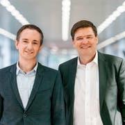 Mit Standortförderer Robert Stadler (links) und FDP-Nationalrat Hansjörg Brunner wurden zwei bekannte Persönlichkeiten für die neue Wirtschaftsorganisation gewonnen. (Bild: PD)