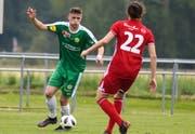 Er kommt aus der eigenen Jugendförderung und spielte am vergangenen Samstag gegen Bavois das ganze Spiel: der 18jährige Filip Degen, ein Turm in der Abwehr des SC Brühl. (Foto: PD/Kurt Frischknecht - 18. Mai 2019)