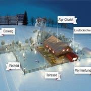 So soll die Eislandschaft auf der Kreuzbleiche aussehen. Am 29. November wird sie eröffnet und bleibt bis 27. Januar in Betrieb. (Visualisierung: PD)