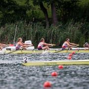 Voller Einsatz, dennoch reicht es nur zum zweiten Rang: der Frauen-Achter des Seeclubs Luzern. (Bild: Manuela Jans-Koch (Luzern, 7. Juli 2019))