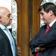Sind sich uneins in wirtschaftspolitischen Fragen: SP-Ständerat Daniel Jositsch und SP-Präsident Christian Levrat. (Bild: Keystone)