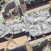 Schattierungen und Linien aus dem Computer: Das ist die neuste Darstellung des Klosterplatzes. (Bild: PD/Ludwig-Boltzmann-Institut)