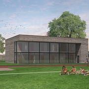 Das geplante Garderobengebäude auf dem Amriswiler Sportplatz Tellenfeld in einer Visualisierung. (Bild: PD)