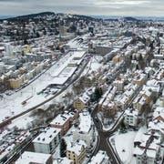 Die Stadt St.Gallen mit Blick in Richtung Bodensee. (Bild: Benjamin Manser und Ralph Ribi/11. Januar 2016)