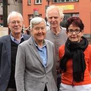 Arne Engeli, Susanne Dschulnigg, Helmut Luz und Lilo Radeberger organisieren den internationalen Bodensee-Friedensweg. (Bild: Urs Brüschweiler)