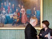 Die abtretenden Bundesräte Johann Schneider-Ammann und Doris Leuthard. (Bild: Peter Klaunzer/Keystone (Bern, 11. November 2016))