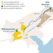 Die neue Transportleitung für Fernwärme zwischen Perlen und Emmen. (Bild: EWL Energie Wasser Luzern)