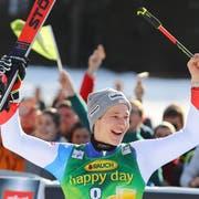 Marco Odermatt freut sich über seinen 3. Rang. (Bild: AP Photo/Marco Trovati, Kranjska Gora, 9. März 2019)