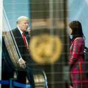 US-Präsident Donald Trump mit UNO-Botschafterin Nikki Haley. (Bild: Justin Lane/Epa (New York, 24.September 2018))