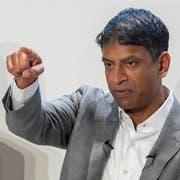 Vas Narasimhan, CEO von Novartis, während der Präsentation der Jahresresultate Anfang 2019. Bild: Patrick Straub/Keystone (Basel, 30. Januar 2019)
