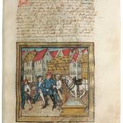 Abbildung des ersten Kapellplatzbrunnens. Bild: Diebold-Schilling-Chronik