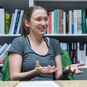 Anja Signer-Bürkler 2018 bei einem Streitgespräch über das Burkaverbot. (Bild: Ralph Ribi - 19. Januar 2018)