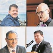 Die Gemeindepräsidenten: Urs Rutishauser (51, Güttingen), Walter Marty (56, Kemmental), Hans Feuz (50, Altnau) und Ciril Schmidiger (42, Lengwil). (Bilder: diverse)