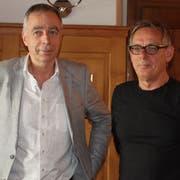 Gesamtleiter Pius Knüsel (links) mit dem abtretenden künstlerischen Leiter Johannes Rühl. (Bild: Markus Zwyssig, Altdorf, 23. Mai 2019)