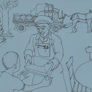 Das waren noch Zeiten in Luzern, als die Brauerei das Bier mit Ross und Wagen zur Beiz brachte. Vorne der Pöstler. Zeichnung: Charles Baumann
