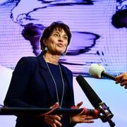 Bundesrätin Doris Leuthard gibt vor den Medien ihren Rücktritt bekannt (Bild: Peter Schneider / Keystone (Bern, 27. September 2018))