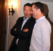 Die Nidwaldner Vertreter in Bundesbern: Ständerat Hans Wicki (links) und Nationalrat Peter Keller. (Bild: Markus von Rotz (Stans, 17. Juni 2017))