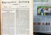 Gewaltige Veränderung: Ein Vergleich zwischen der ersten Appenzeller Zeitung vom 5. Juli 1828 und der Jubiläumsausgabe vom 5. Juli 2018. (Bild: Roger Fuchs)