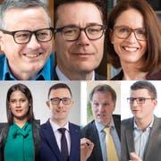 Die Ständeratskandidaten: Patrick Ziltener (Grüne), Benedikt Würth (CVP), Susanne Vincenz-Stauffacher (FDP), Sarah Jyoti Bösch, Alex Pfister, Andreas Graf und Mike Egger (SVP).
