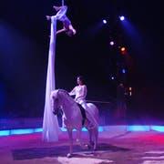 Premiere des Zirkus Nock 2008 auf der Allmend in Luzern. Franziska und Alexandra Nock in der Manege. (Bild: Adrian Stähli/Archiv LZ)