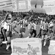 St.Gallens Spieler feiern 1969 im Wankdorf den bislang einzigen Cupsieg. In den Folgejahren erreicht die Berichterstattung über den Verein ein neues Hoch. (Bild: KEY, Montage: jbr)